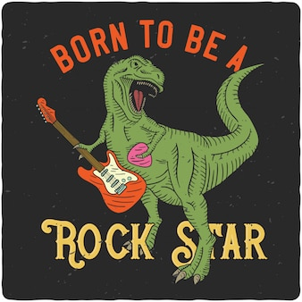 Tyrannosaurus spielt auf e-gitarre Premium Vektoren