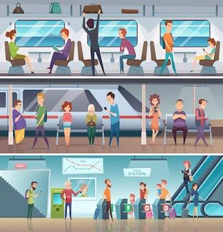 U-bahn-eingang. städtische u-bahn-ausgang elektronische schritte plattform station stadt schnell transport cartoon hintergrund