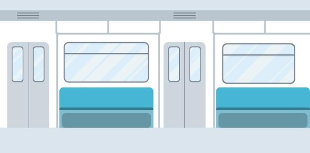 U-bahn-wageninnenraum. öffentliche verkehrsmittel auf städtische u-bahn-passagiere des öffentlichen nahverkehrs. leere u-bahn-konzeption