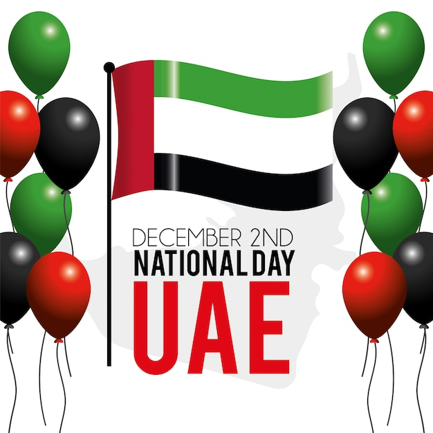 Uae-flagge mit ballonen zum nationaltag