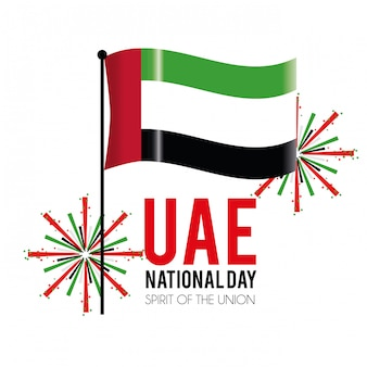 Uae-flagge mit firewords, um nationaltag zu feiern