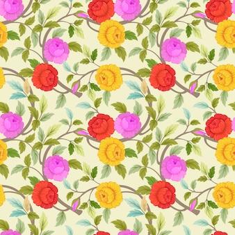Übergeben Sie gezogene bunte Blumen, die nahtloses Muster blühen.