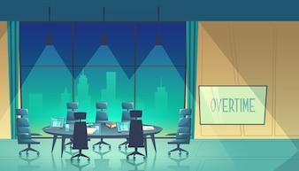 Überstundenkonzept - Konferenzsaal für Business-Seminar bei Nacht
