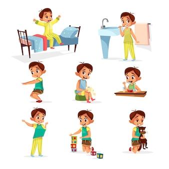 Übungssatz des Karikaturjungen täglichen Programms. Männlich Charakter aufwachen, strecken, Zähne putzen