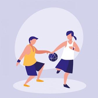 Übender basketball-avataracharakter der paare