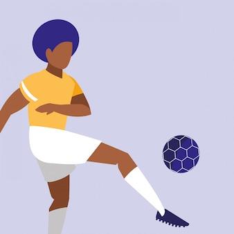 Übender fußball des jungen mannes lokalisierte ikone