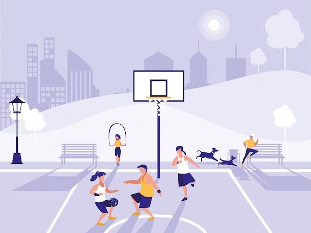 Übender sport der leute im basketballfeld