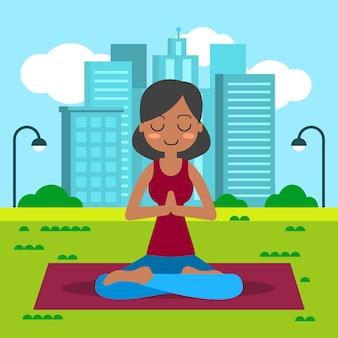 Übendes yoga der jungen frau in der lotoshaltung.