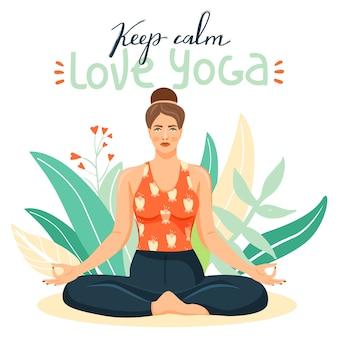 Übendes yoga der jungen frau.
