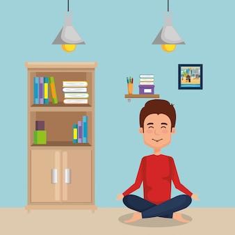 Übendes yoga des jungen mannes
