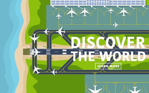 Über der topdown-ansicht der landebahn des flughafens
