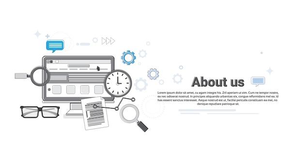 Über uns geschäfts-entwickler-informations-konzept-fahnen-dünne linie vektor-illustration