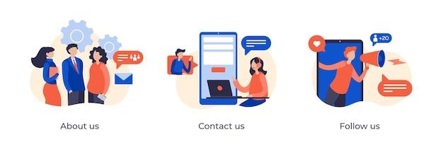 Über uns, kontaktieren sie uns und folgen sie uns konzept flache illustration für unternehmenswebseiten. unternehmensprofil und teaminformationen