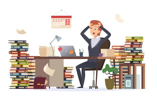Überarbeitete geschäftsfrau. schlafender deprimierter müder weiblicher manager der harten arbeit, der schreibtisch im großen stapel des dokumentencharakters sitzt
