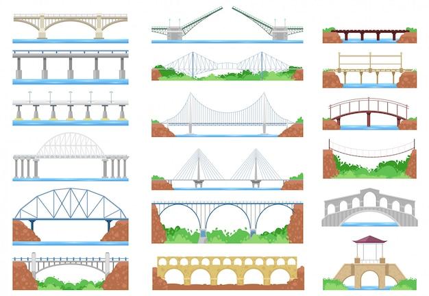 Überbrücken sie die städtische überkreuzungsarchitektur und den brückenbau für die transportillustration überbrückten satz des flussbrückenbaus mit fahrbahn auf weißem hintergrund