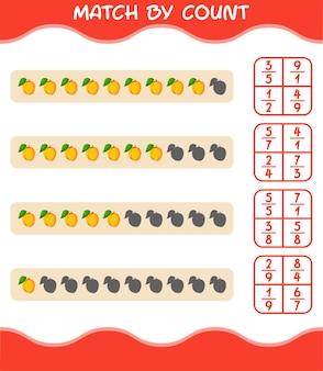Übereinstimmung nach anzahl der cartoon-aprikose. match- und zählspiel. lernspiel für vorschulkinder und kleinkinder