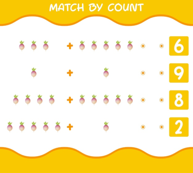 Übereinstimmung nach anzahl der cartoon-rüben. match- und zählspiel. lernspiel für vorschulkinder und kleinkinder