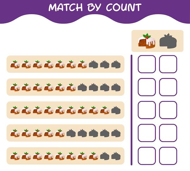 Übereinstimmung nach anzahl der cartoon-weihnachtskuchen. match- und zählspiel. lernspiel für vorschulkinder und kleinkinder