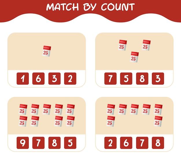 Übereinstimmung nach anzahl des cartoon-kalenders. match- und zählspiel. lernspiel für vorschulkinder und kleinkinder