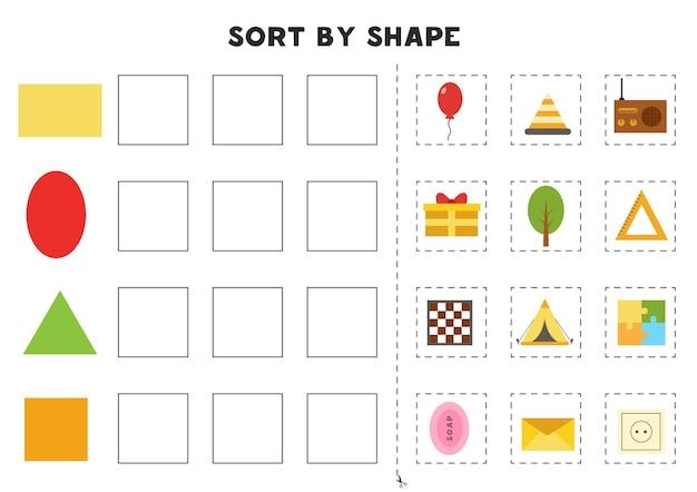 Übereinstimmung nach formen. erlernen grundlegender geometrischer formen. druckbares arbeitsblatt für die vorschule.