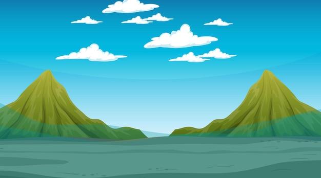 Überflutete landschaft mit bergszene am tag