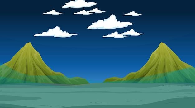Überflutete landschaft mit bergszene bei nacht