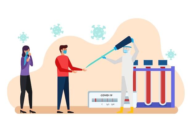 Übergabe des impfstoffs von einem arzt an einen patienten, der dem virus ausgesetzt ist