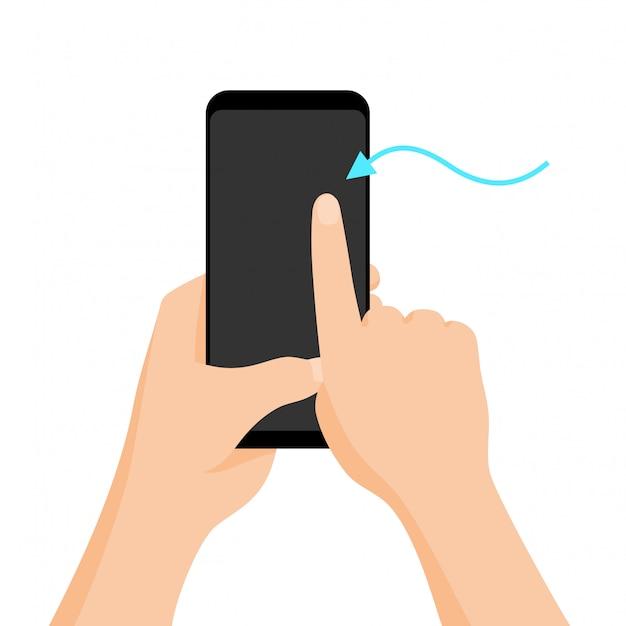 Übergeben sie das halten von smartphone mit schnellem tutorial auf dem bildschirm