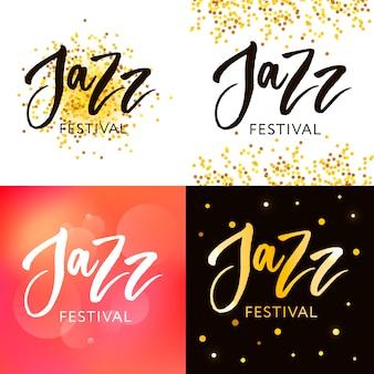 Übergeben sie die gezogene beschriftung von zitaten über die jazzfestivalsammlungen, die auf dem weißen hintergrund lokalisiert werden. spaßbürstentintenvektorkalligraphieabbildungen stellten für fahnen, grußkarte, plakatdesign ein.