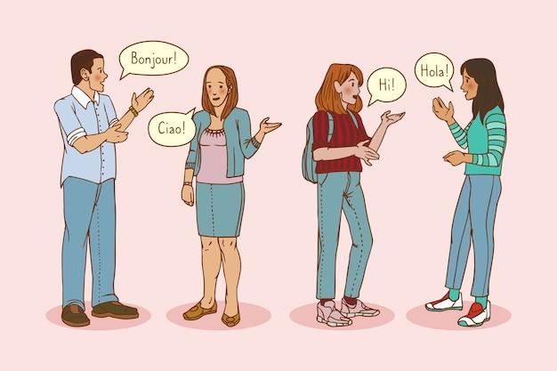 Übergeben sie die gezogenen jungen leute, die in der sammlung der verschiedenen sprachen sprechen