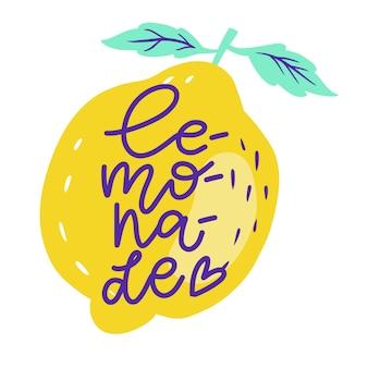 Übergeben sie gezogene beschriftungsaufschriften über limonade im großen und ganzen zitronen mit blättern. aufkleber
