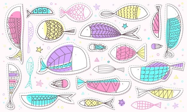 Übergeben sie gezogene fisch- und meeresflora und -fauna-aufklebersammlung in der pastellfarbe