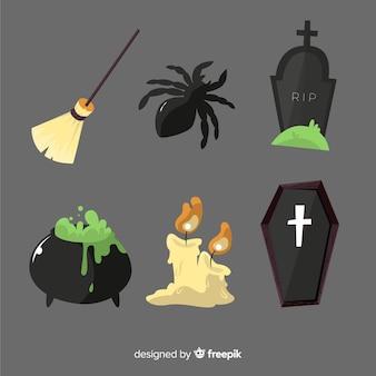 Übergeben sie gezogene halloween-elementsammlung in den schwarzen schatten