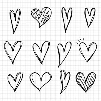 Übergeben sie gezogene ikonen und illustrationen für valentinsgrüße und hochzeit.
