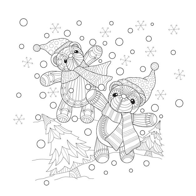 Übergeben sie gezogene illustration von den teddybären, die im schnee spielen