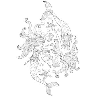 Übergeben sie gezogene illustration von zwei meerjungfrauen in der zentangle art