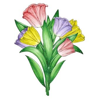 Übergeben sie gezogene markierungsillustration mit einem schönen blumenstrauß von den roten, lila und gelben lokalisierten tulpen