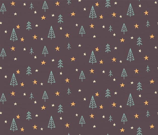 Übergeben sie gezogene nahtlose musterillustration eines weihnachtsbaums und des sternes. flaches design im skandinavischen stil für kinder.