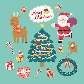 Übergeben sie gezogene nette weihnachtselemente der vektorillustration, santa claus, ren, weihnachtsbaum