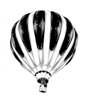 Übergeben sie gezogene skizze des heißluftballons im schwarzen, das auf weiß lokalisiert wird.