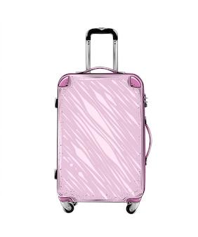 Übergeben sie gezogene skizze des koffers in der rosa lokalisierten farbe. ausführliche weinleseartzeichnung. vektor-illustration