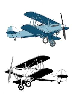 Übergeben sie gezogene skizze von doppeldeckerflugzeugen in der farbe. isoliert .