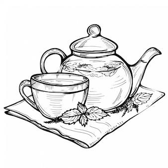 Übergeben sie gezogene vektorskizze der gesunden schale des grünen tees mit teeblättern.
