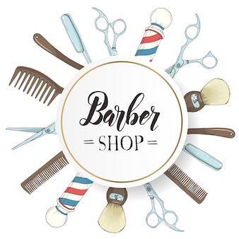 Übergeben sie gezogenen friseursalonrahmen mit rasiermesser, scheren, rasierpinsel, kamm, klassischer friseursalon pole in der skizzenart.
