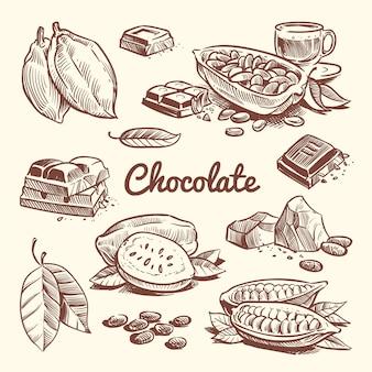 Übergeben sie gezogenen kakao, blätter, kakaosamen, süßspeise und schokoriegel. kakaoskizzen-vektorsammlung