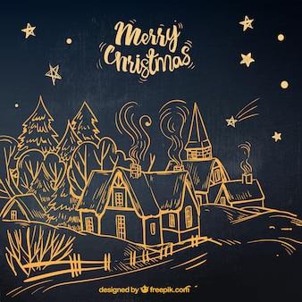 Übergeben sie gezogenen schwarzen hintergrund mit einer kontur einer weihnachtsstadt