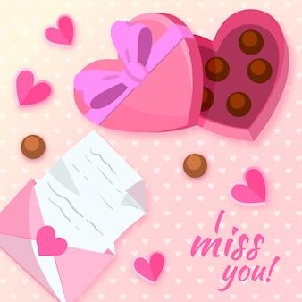 Übergeben sie gezogenen valentinstaghintergrund und kasten schokolade