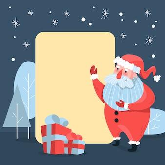 Übergeben sie gezogenen weihnachtscharakter weihnachtsmann, der leere fahne hält