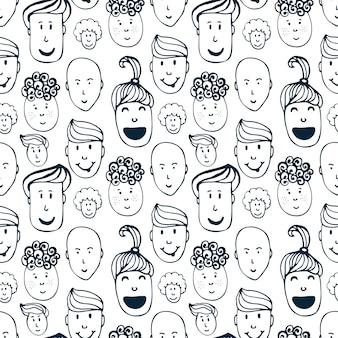 Übergeben sie gezogenes nahtloses muster des vektors mit illustration der gruppe männer und frauen. menge des lustigen völkerhintergrundes.