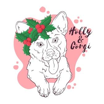 Übergeben sie gezogenes porträt des corgihundes mit weihnachtsblumen vektor.